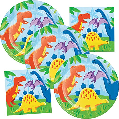 Dinosaur Birthday Party Supplies Plates & Napkins Kids Dino Party Theme Pack Serves 16 Guests]()
