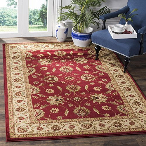 Safavieh Lyndhurst Collection LNH553-4012 Traditional Floral Red and Ivory Square Area Rug (6'7