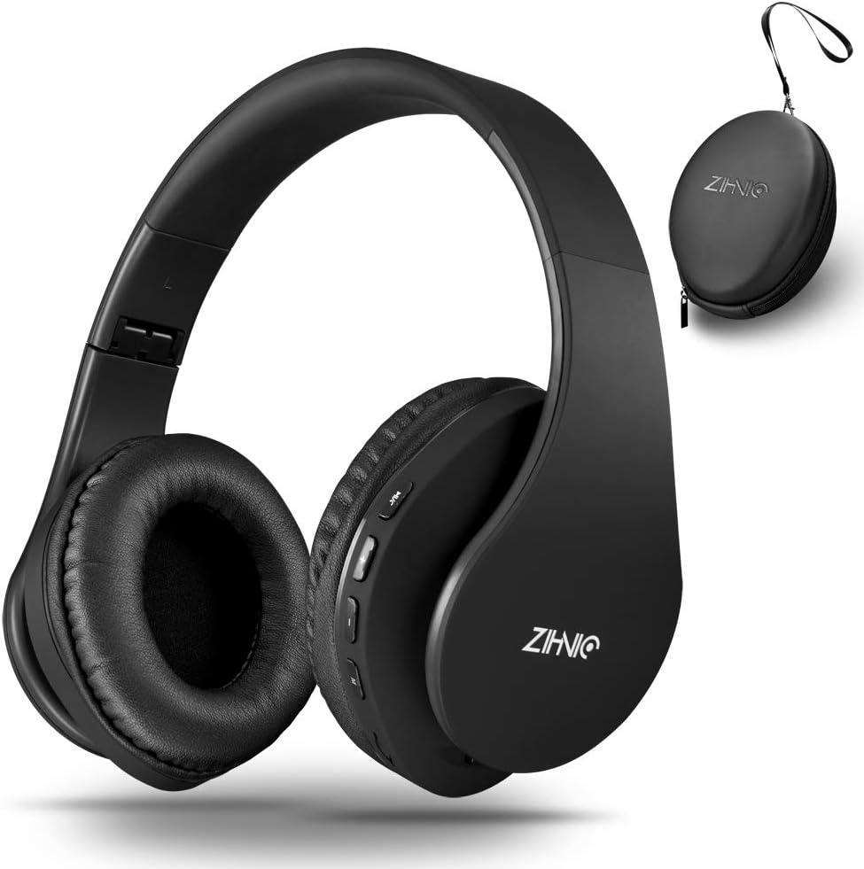 Zihnic Auriculares Bluetooth Inalambricos, Cableados con Micrófono Plegables Estéreo Cascos Inalambricos Bajos Profundos para TV/PC/Teléfonos Celulares,Diadema con Orejeras Suaves y Confortables-Negro