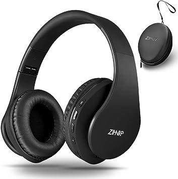 Zihnic Auriculares Bluetooth Inalambricos, Cableados con Micrófono Plegables Estéreo Cascos Inalambricos Bajos Profundos para TV/PC/Teléfonos Celulares,Diadema con Orejeras Suaves y Confortables-Negro: Amazon.es: Electrónica