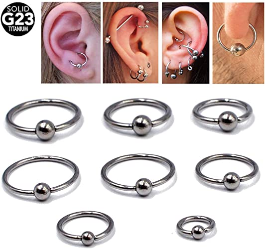 Details about  /5pcs Stainless Steel Bead Ring Ball Hoop Nose Lip Tongue Earrings Body Piercing