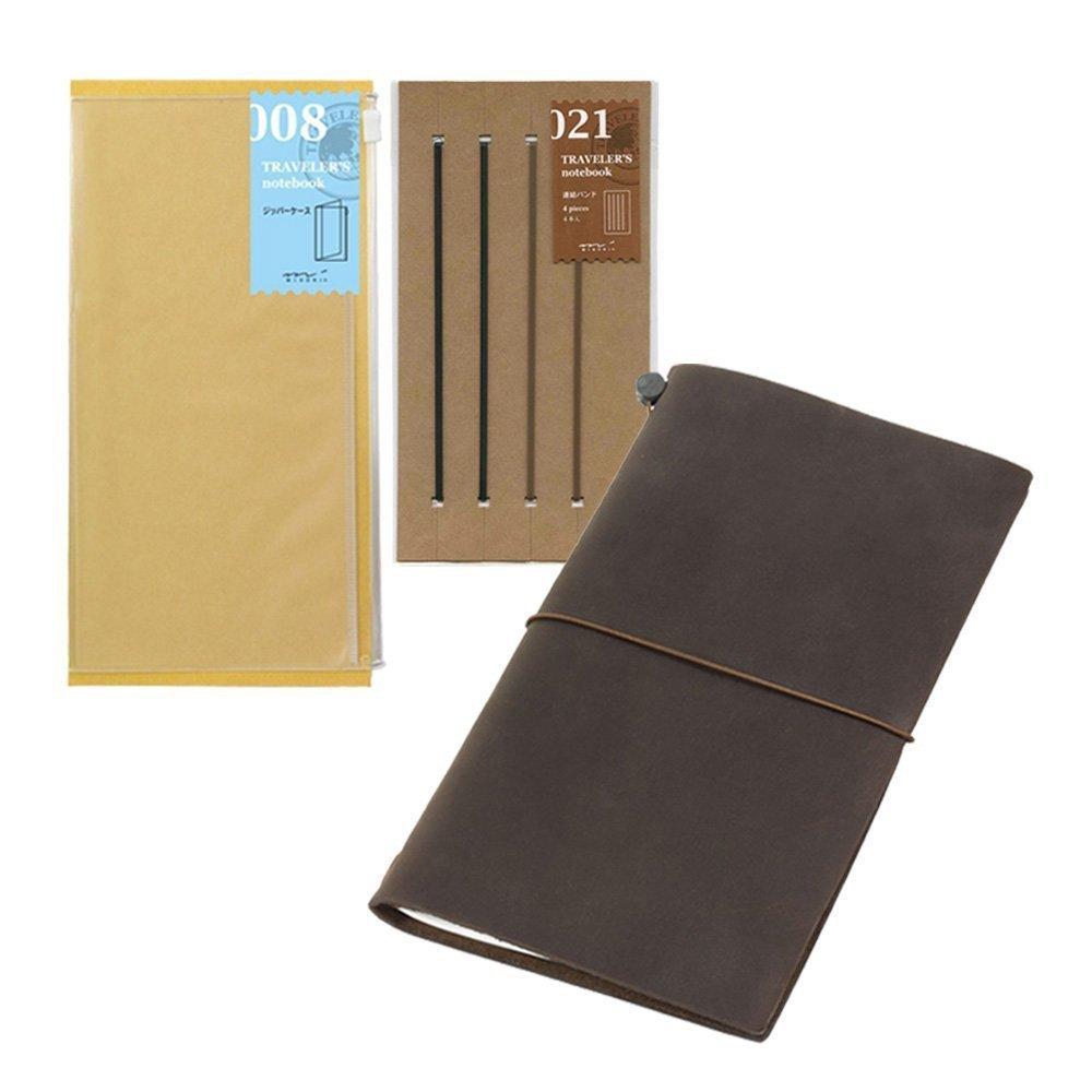 Midori Traveler's Notebook Leather Bundle Set , Regular Size Brown , Refill Connection Rubber Band 021 , Clear Zipper Case 008