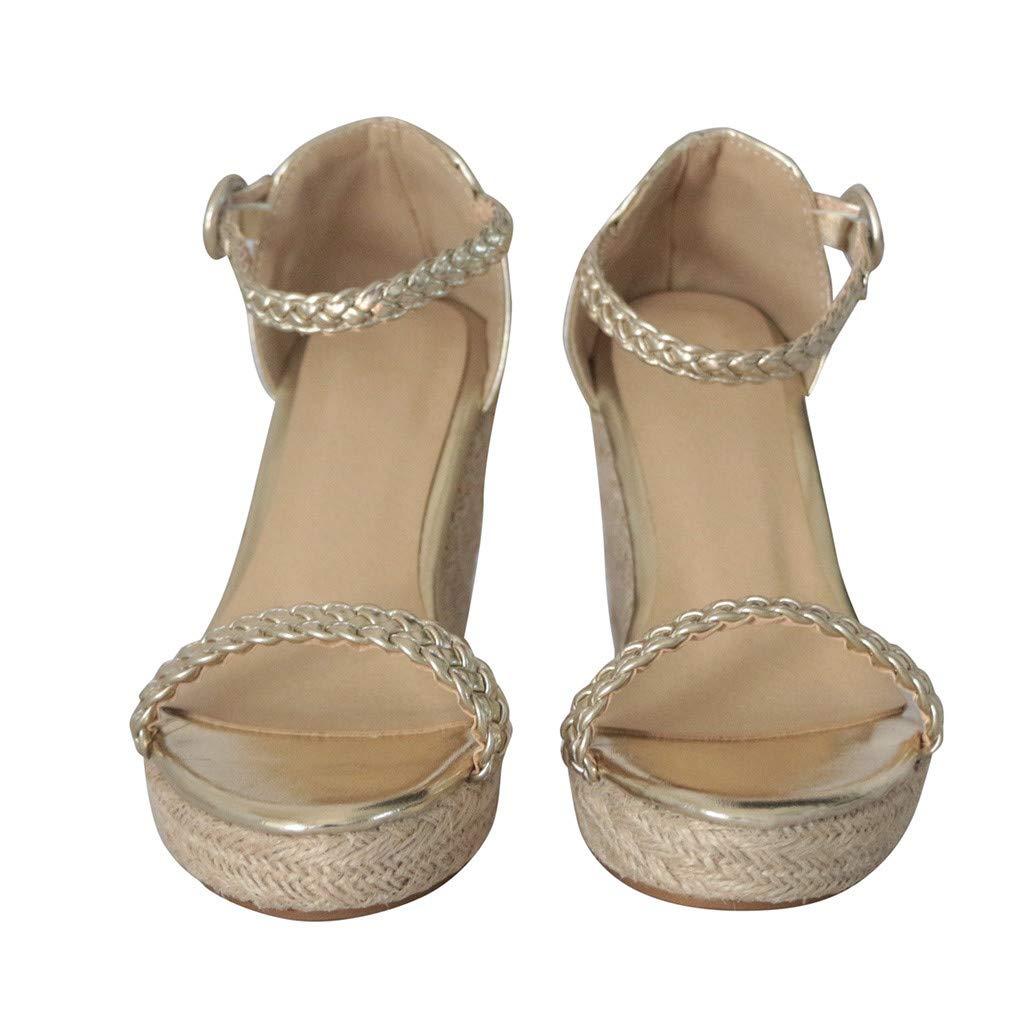 Summer Sandals, ❤️ FAPIZI Women Casual Open Toe Platform High Heels Solid Wedge Buckle Strap Sandals for Gifts Women Gold by FAPIZI Women Shoes (Image #3)