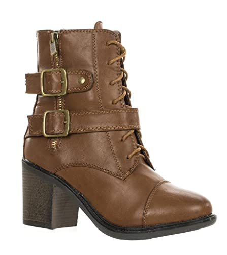 Women's Chunky Heel Military Combat Lace up Buckle Zipper Bootie GEORGIA-04