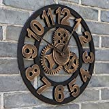 """16"""" Round Wall Clock, Antique Handmade Wooden Vintage 3D Gear Design, By Chevy K. (Gold with Numbers)"""
