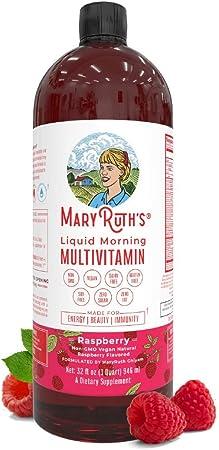 Morning Liquid Vitamins by MaryRuth's (Raspberry) Vegan Multivitamin A B C D3 E Trace Minerals & Amino Acids for Energy, Hair, Skin & Nails for Men & Women | 0 Sugar | 32oz