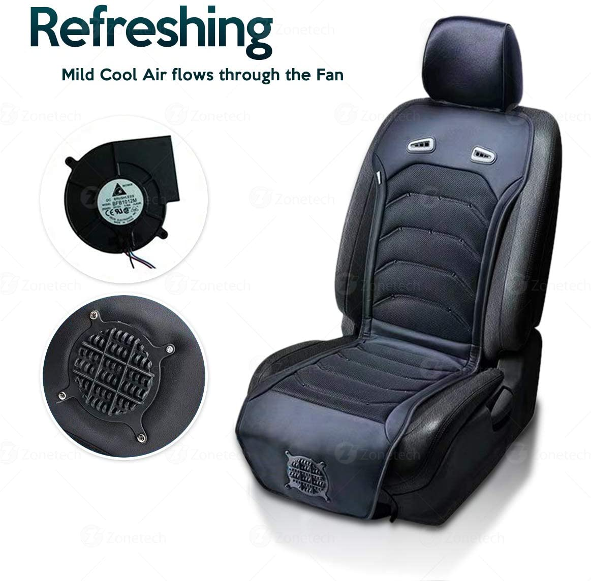 Car Seat Cooling Pad Air Conditioned Seat Cooler with Fan for Cars Home Office Massage Lumbar Support Cool Seat Cover Big Ant Cooling Car Seat Cushion Black-1PC