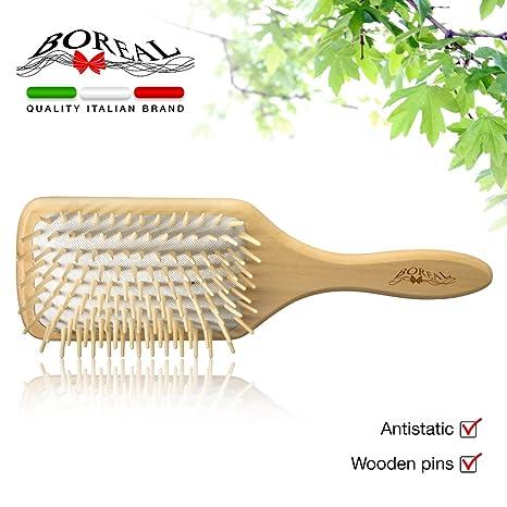 Cepillo cabello modelo gigante, antiestático y neumático. Madera natural.