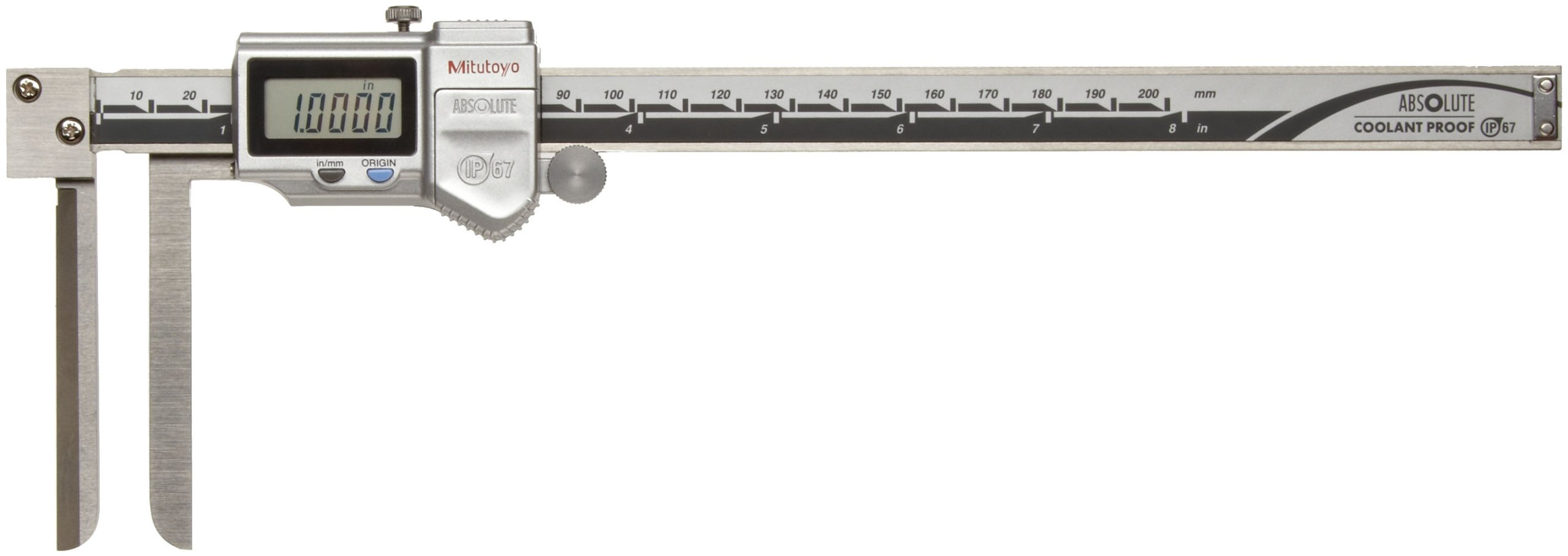 Mitutoyo ABSOLUTE 573-742 Digital Caliper, Stainless Steel, Battery Powered, Inch/Metric, Knife Edge, Long Jaw, 0-8'' Range, +/-0.002'' Accuracy, 0.0005'' Resolution, Meets IP67 Specifications