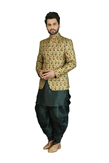bbd80a0b77f Mens Ethnic Indo Western Printed Silk Brocade Wedding Indian Party Wear Set  of 2. Green  Amazon.co.uk  Clothing