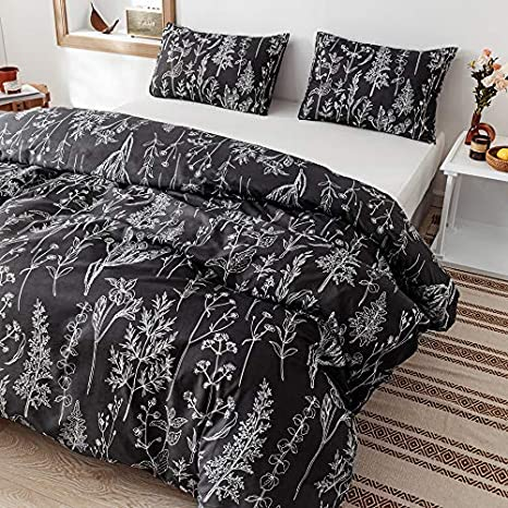 King Soft Microfiber Bedding Plant Printed on White Comforter with 2 Pillow Cases for All Seasons Janzaa 3pcs White Comforter Set King