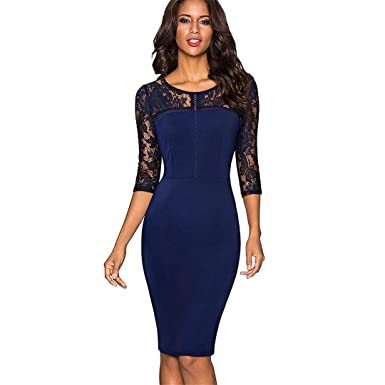 Bodycn Vintage Sexy Embroidery Lace 3/4 Sleeve Vestidos Gown Bodycon Office Business Dresses Dark