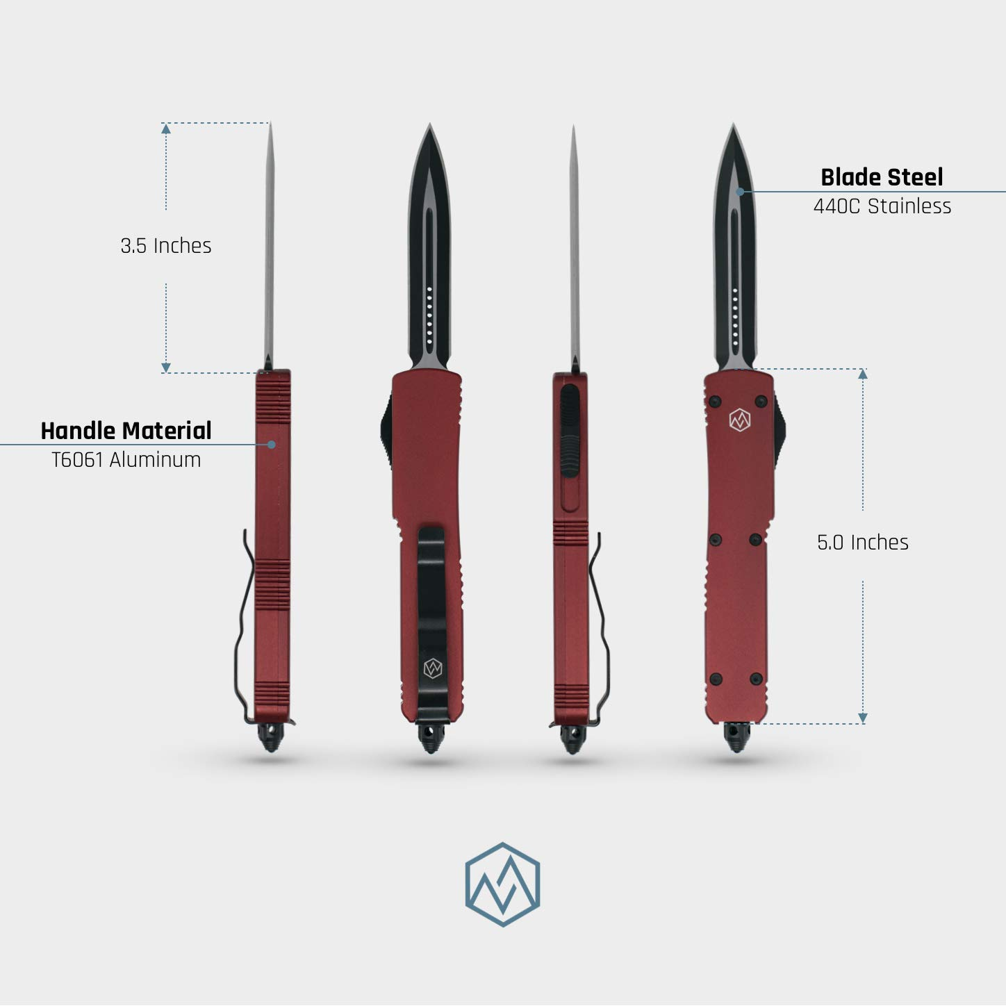 OTF Double Action Safety Knife (Red & Black Double Edge Blade) by OTF (Image #3)