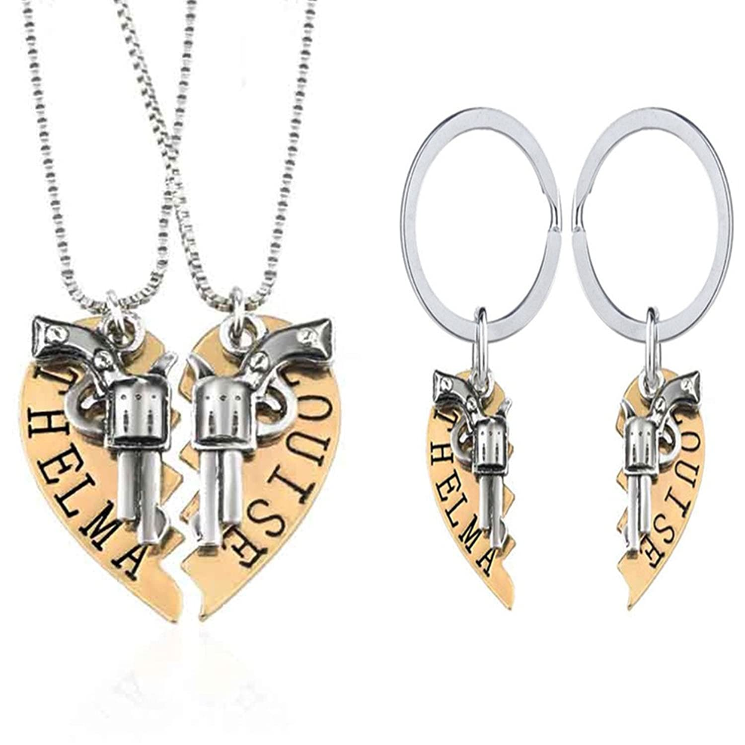 1 Set Thelma and Louise Revolver Charm Keychain Broken Heart-shaped Puzzle BFF Necklace