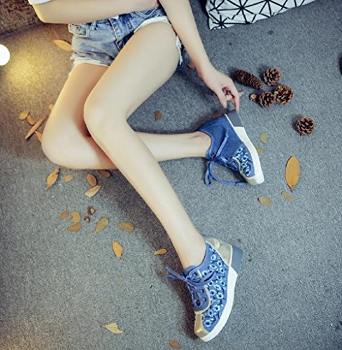 Women Lady Up Lazutom Sneaker Blue Shoes Embroidery Style Casual Lace Chinese 5dqFqW6