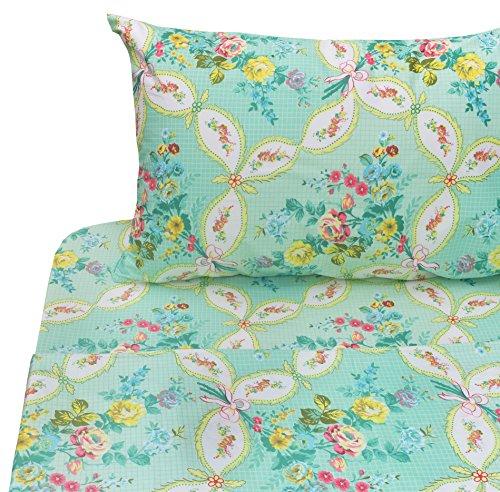 J-pinno Green Flower Sweet Twin Sheet Set Bedroom Decoration Gift, 100% Cotton, Flat Sheet + Fitted Sheet + Pillowcase Bedding Set (Twin, 6) - Set 100% Cotton