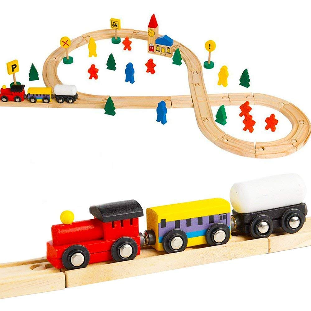 Here Fashion Wooden Railway Train Set Wood Magnetic Train Set Train Tracks Kids Boys Toddler
