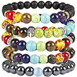 Casoty 7 Chakras Bracelet Set of 5 - 8mm Volcano Lava Rock Stone Beads Healing Yoga Bracelets For Men and Women