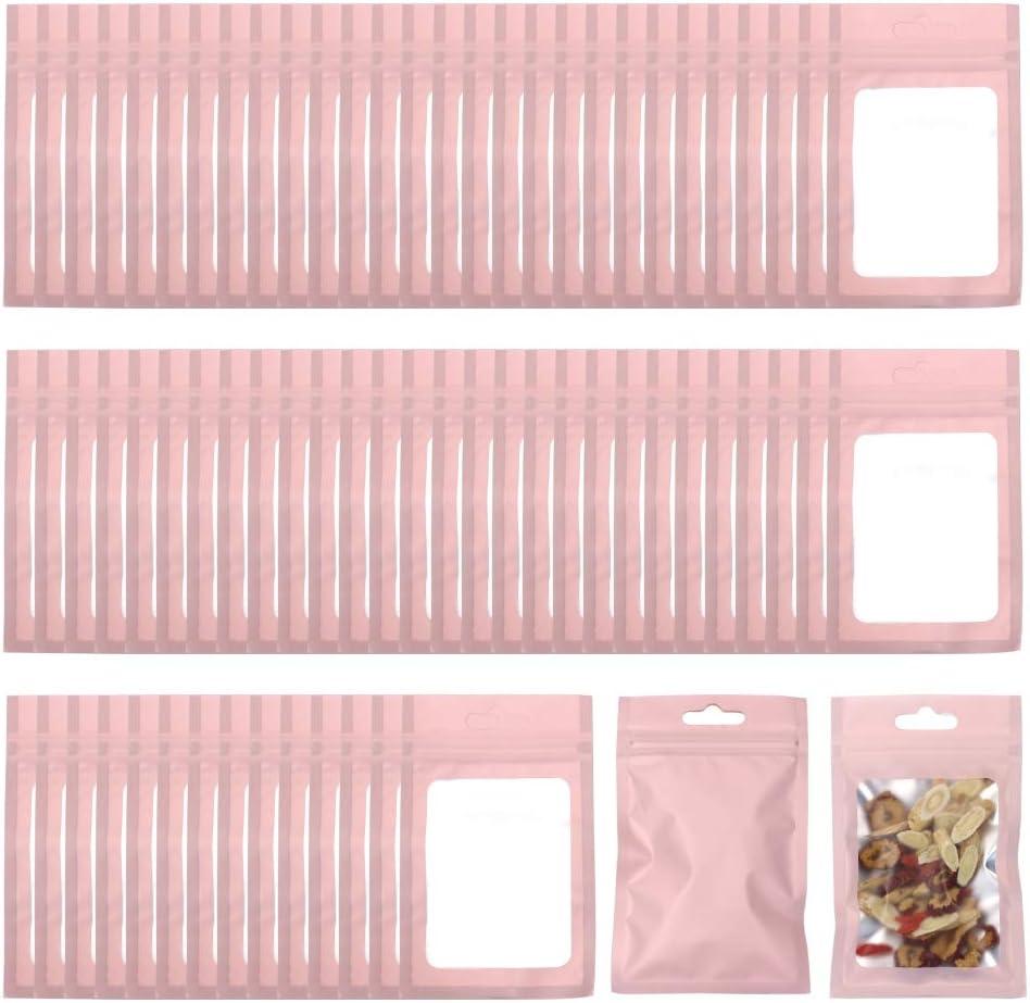 Allure Maek 200 Pieces Mylar Zip Lock Bags Aluminum Foil Bags, Flat Metallic Mylar Foil Flat ZipLock Food Storage Bags Pouch 7.5 x 12 cm/ 3 x 4.7 Inch (Pink)