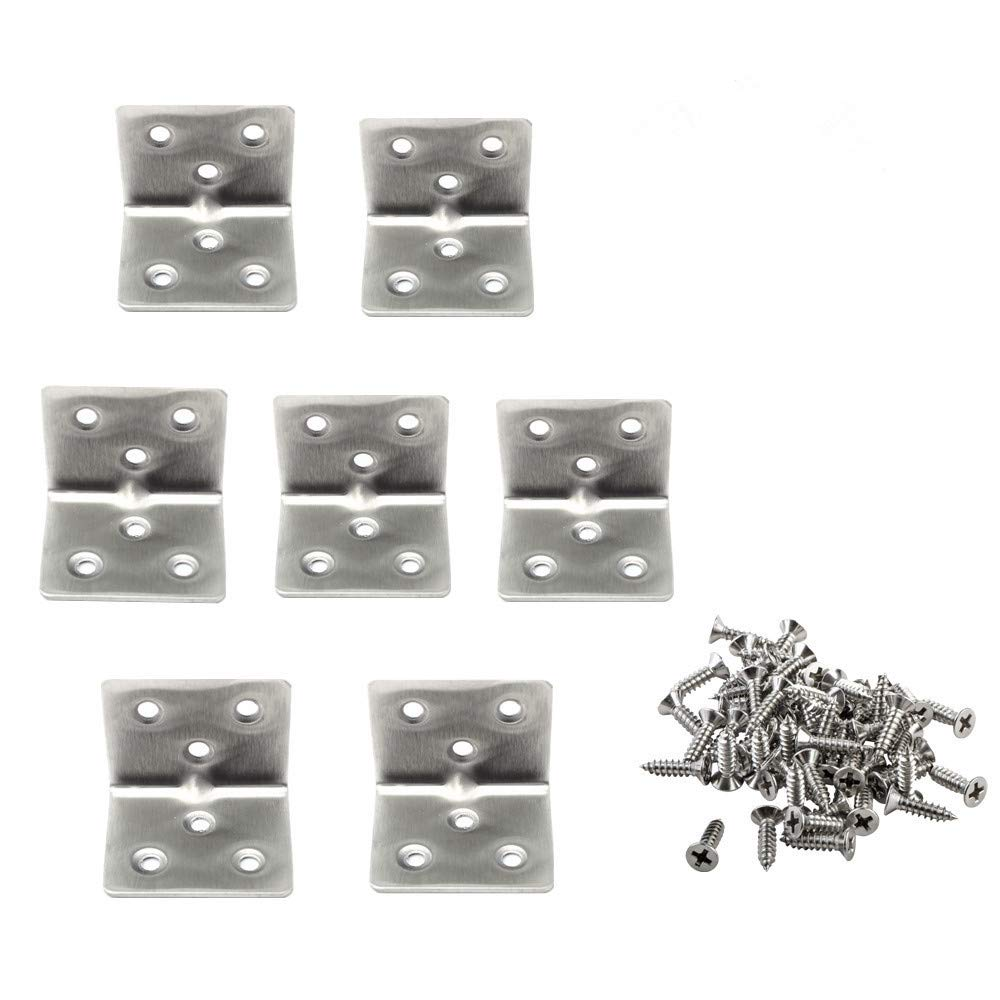 Corner Brace Stainless Steel Right Angle Bracket L Shaped Bracket for Furniture Fixation 20 Pack (6 Holes) AROGEAR