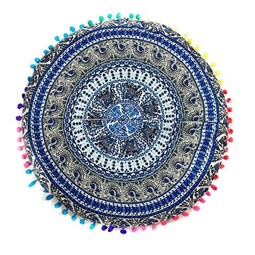 GOVOW Indian Decor Curtains Mandala Floor Pillows Round Bohemian Cushion Cushions Pillows Cover Case