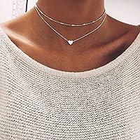 Simple Double Layers Chain Heart Pendant Necklace Choker Fashion Women Jewelry