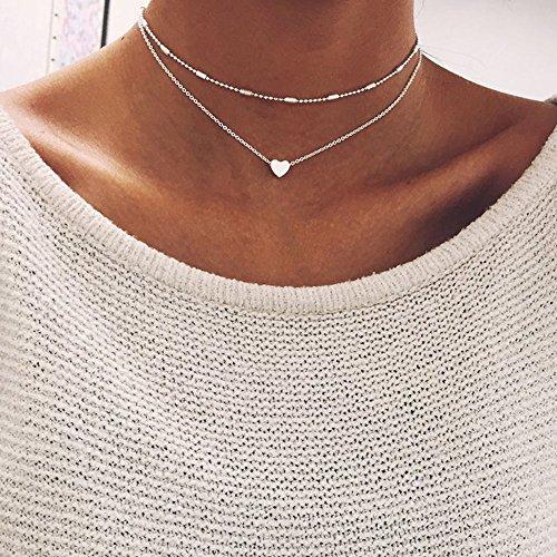 - wanmanee Simple Double Layers Chain Heart Pendant Necklace Choker Fashion Women Jewelry