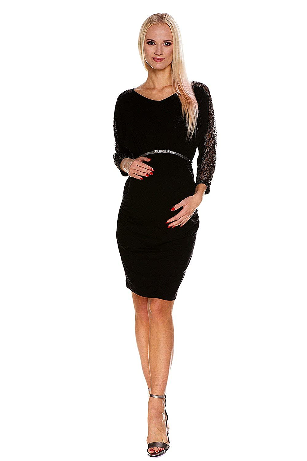 My Tummy Maternity Dress Camille Silver Elegant Chic Party Black