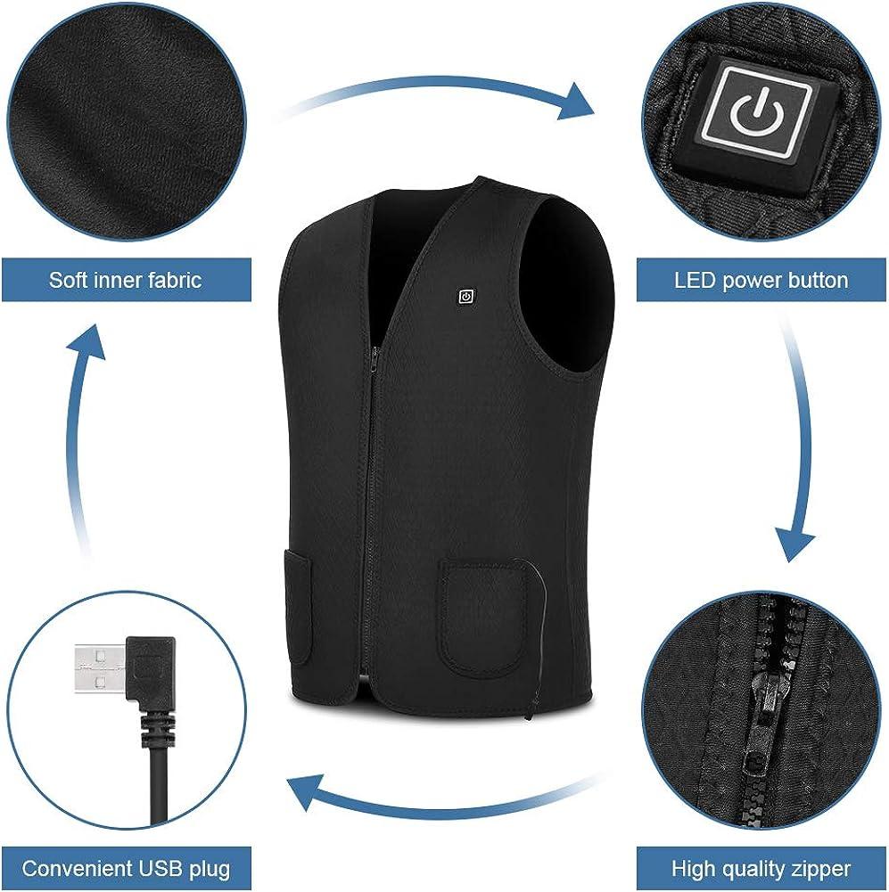 sin banco de energ/ía Chaleco calefactor el/éctrico con carga USB chaleco caliente el/éctrico para caza de pared ropa de calefacci/ón para hombres y mujeres