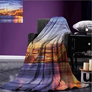JKTOWN United States Outdoor Blanket Suitable for Boys & Girls 54x72 inch St. Augustine Florida Famous Bridge of Lions Dreamy Sunset Majestic Orange Blue Coral
