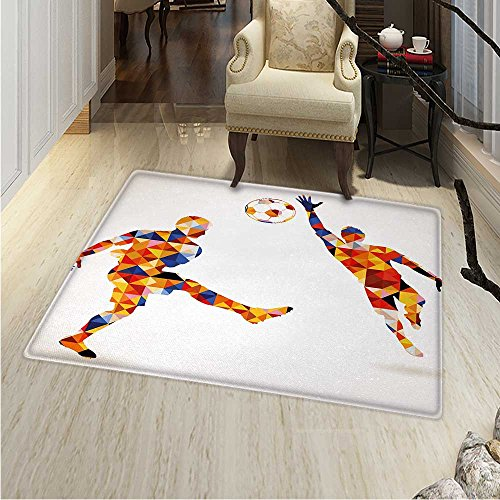 Sports Area Silky Smooth Rugs Abstract Design Football Soccer Players in Geometrical Colorful Shapes Print Home Decor Area Rug 4'x5' Multicolor ()