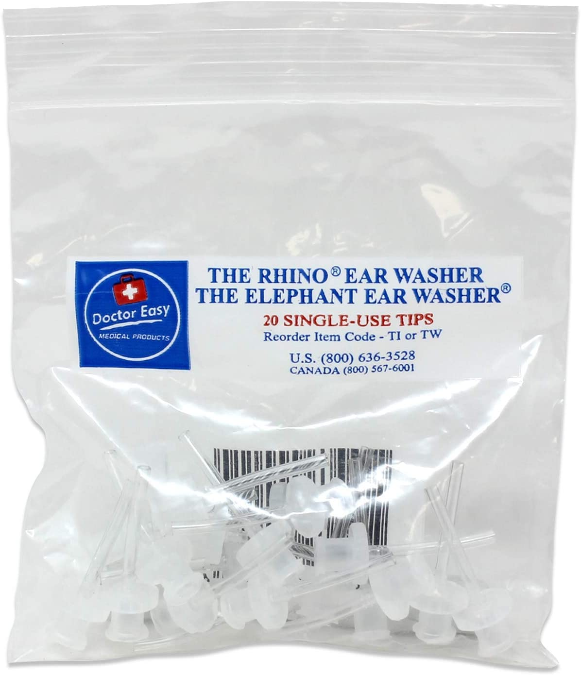 Doctor Easy Elephant & Rhino Ear Washer Disposable Tips, Bag Of 20