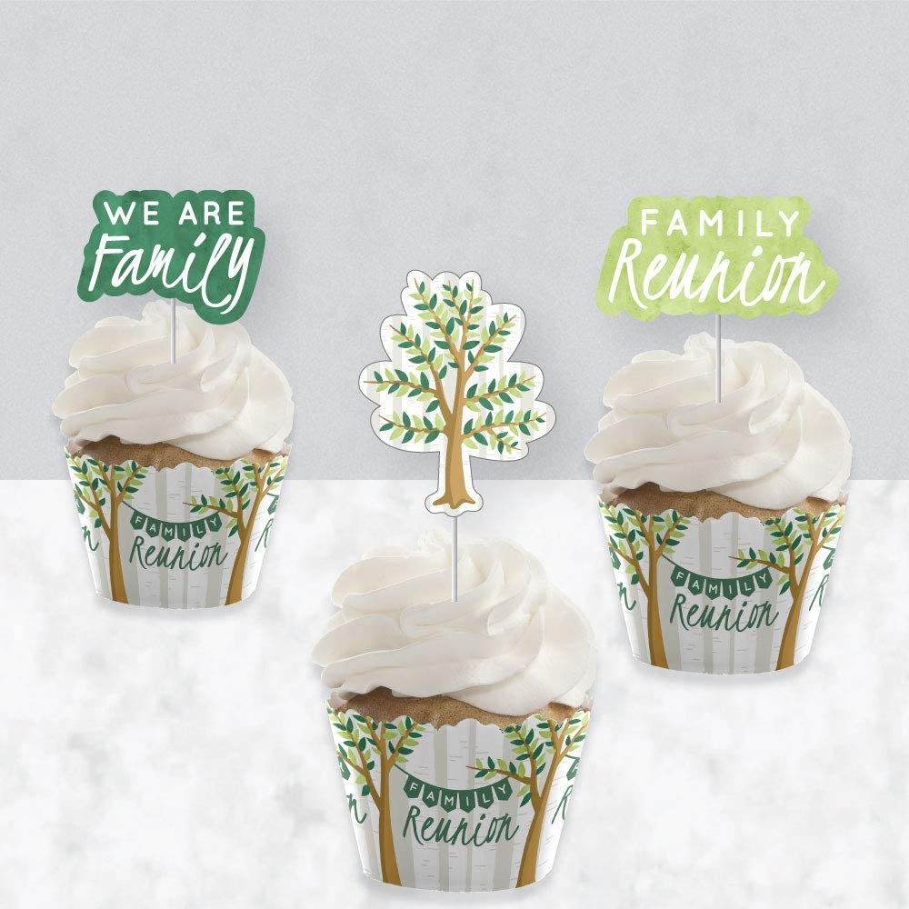 Cupcake Decoration Set of 24 Family Tree Reunion Family Gathering Party Cupcake Wrappers and Treat Picks Kit