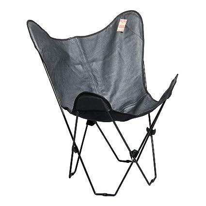 Amazon.com: hilason piel Mariposa silla plegable salón ...