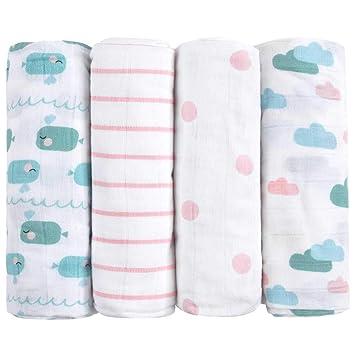 Muselinas para beb/és de emma /& noah con OEKO-TEX 100/% algod/ón pa/ños de muselina suaves para beb/é,ideal como pa/ñales de tela 80x80 cm paquete de 3 doudou pa/ños de mulet/ón mantas de lactancia