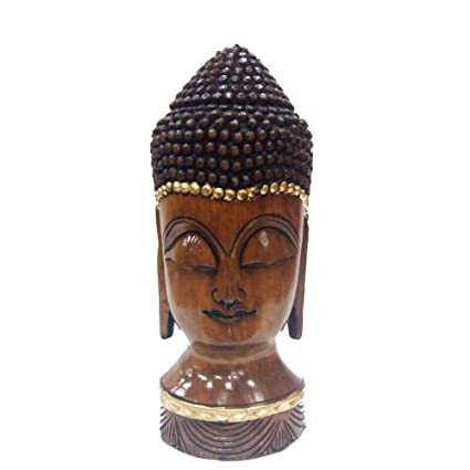Amazon Com Indian Handicrafts Export Wooden Hand Carved Buddha Face