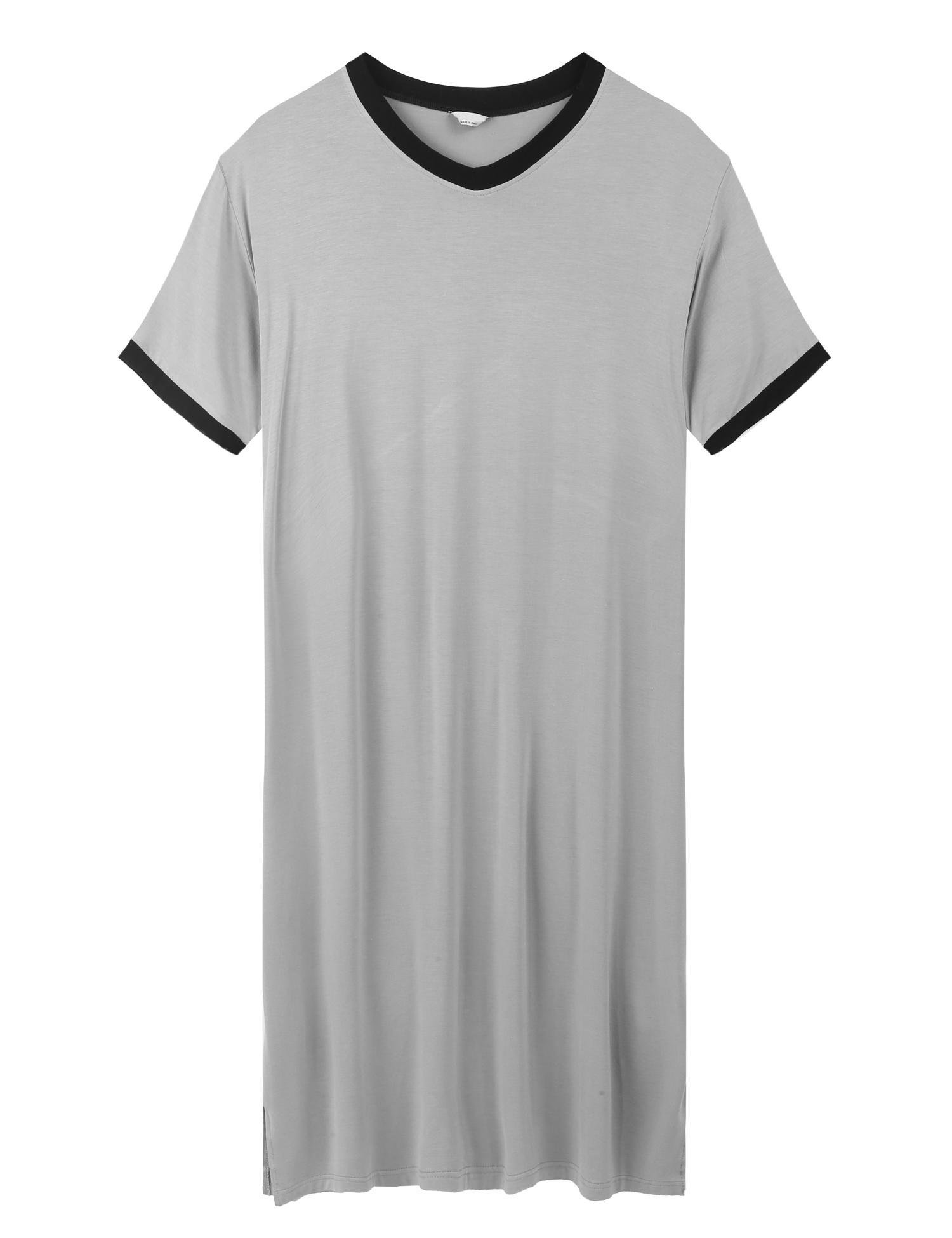 Skylin Men's Nightshirt Cotton Nightwear Comfy Big&Tall Short Sleeve Henley Sleep Shirt (Grey, Large)