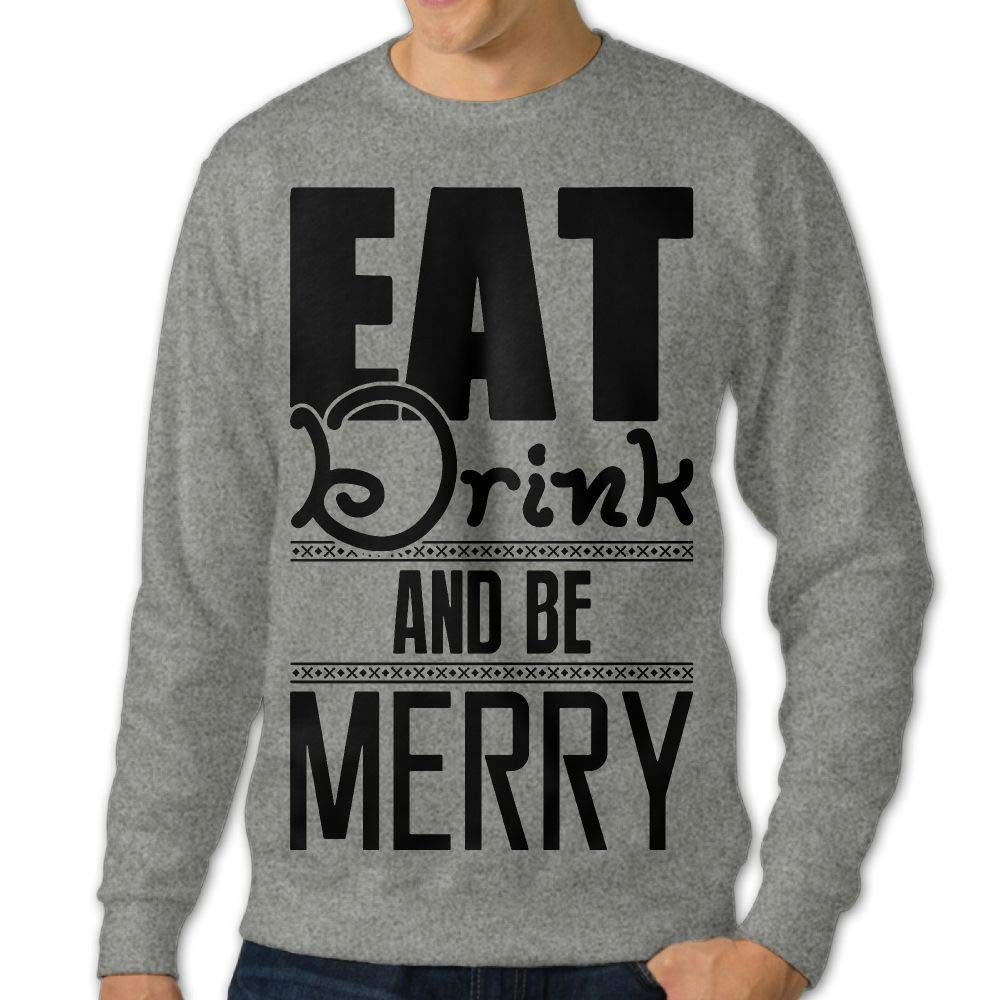 LLiYing-D Christmas Eat Drink Be Merry Adult Mens Fashion Long Sleeve Hoody T-Shirt