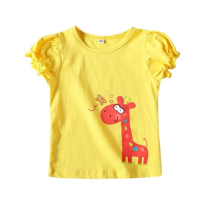 Lonshell Camiseta Verano Moda de La Jirafa Linda de Dibujos Animados para bebé niños y niñas Camiseta de Cuello Redondo de Corta Manga: Amazon.es: Ropa y ...