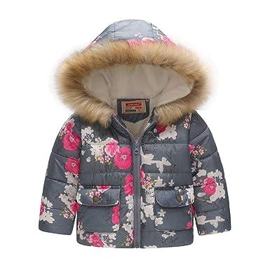 a036d1166f Hibote Kinder Mädchen Junge Winterjacke mit Kunstpelz Tailliert Jacket  Daunenjacke Wintermantel Mantel Parka Oberbekleidung Winter 90cm