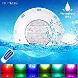 MUMENG LED Pond Light, Submersible Swimming Pool Light, Waterproof Immersed RGB Projector, Multicolor LED Underwater Light, 24W AC 12V IP68 Color Changing with Remote Control