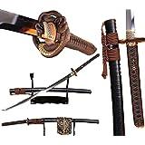 Lyuesword Japanese Samurai Handmade Clay Tempered Full Tang Folded Steel Katana Sword Battle Ready Blade
