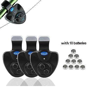 Alarma de pique para pesca con Bonus Pack de 10 pilas, mejor Seneitive Electronic indicador LED Sonido alerta de caña de pescar con alta sirena ...