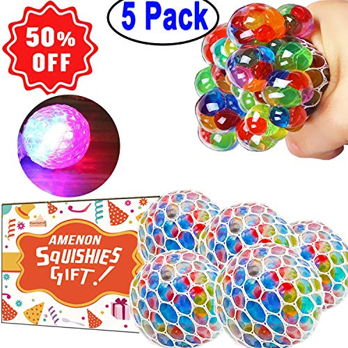(5 Pack Stress Mesh Ball LED Light Up Squeeze Grape Stress Relief Fidget Toy for Adults Kids Anxiety Squeezing Colourful 2.5