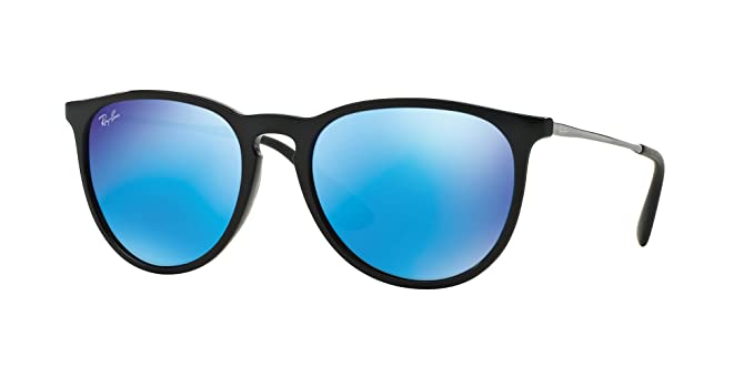 1ac127700bdb0 Image Unavailable. Image not available for. Color  New Ray Ban Erika RB4171  601 55 Black Light Green Mirror Blue 54mm Sunglasses