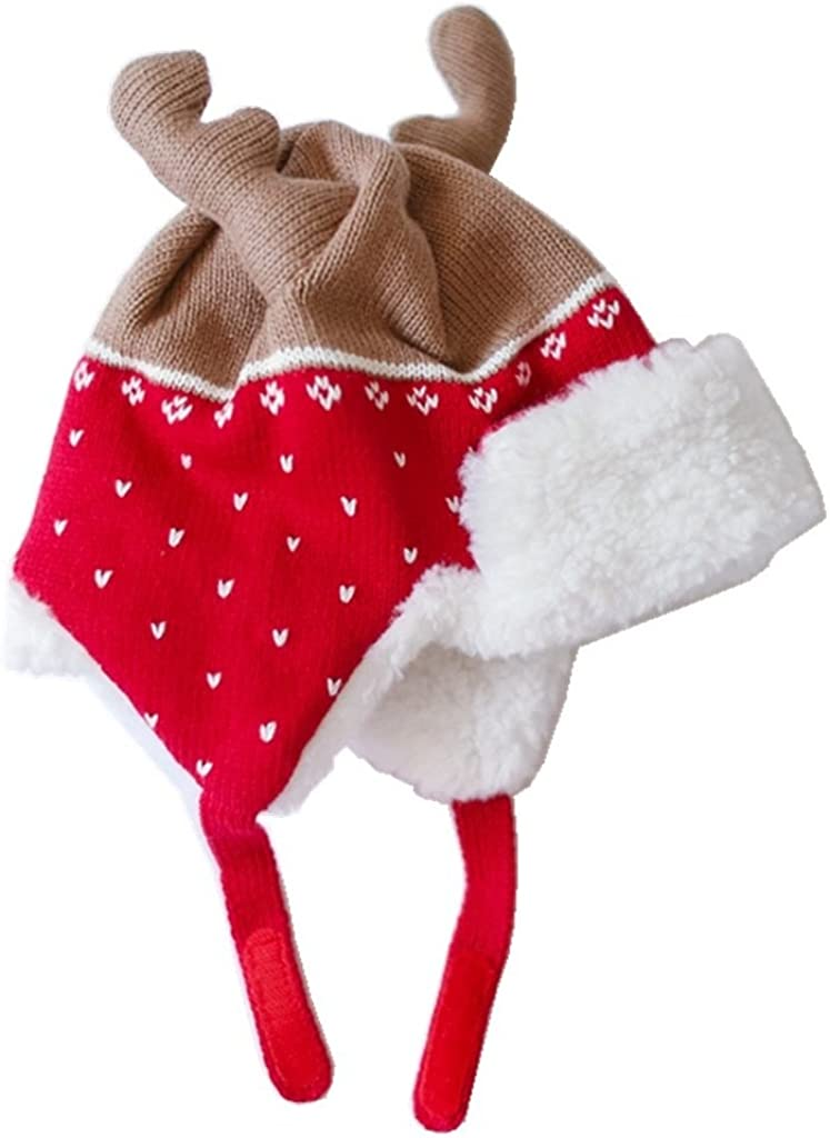 Kids Warm Winter Hats with Earflaps Christmas Hats Beanie Hat Moose Antlers Hat
