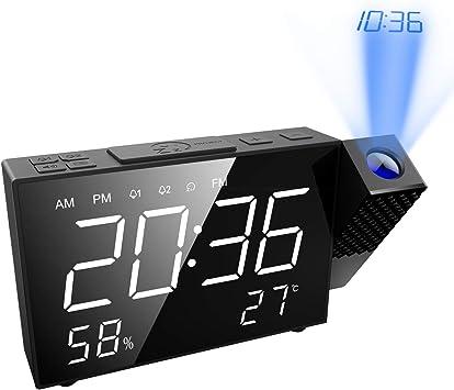 ORIA 【2019 New】 Despertador Proyector, Reloj de Alarma de Radio ...