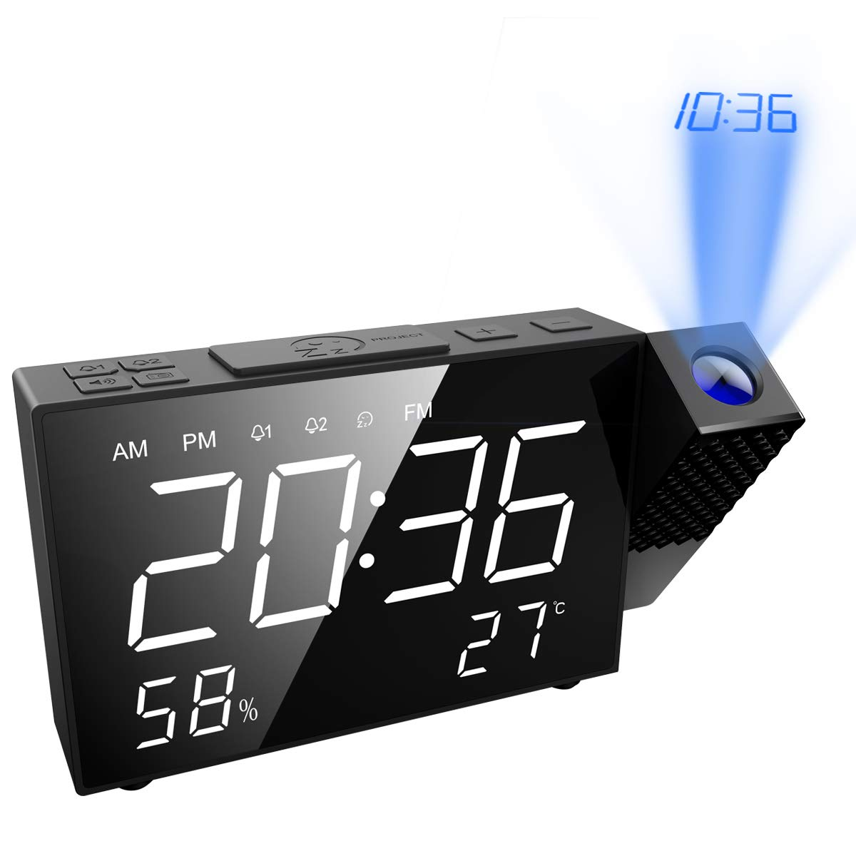 ORIA Projection Alarm Clock, Digital FM Radio Alarm Clock, 6.5'' Projection Clock, Dual Alarm with USB Charging Port, 12/24 Hour, Temperature and Humidity for Home, Kitchen, Bedroom, Study