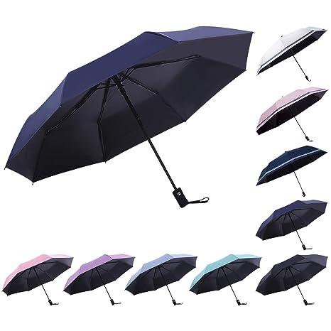 DORRISO Automático/Manualmente Abrir Cerrar Paraguas Plegable Mujer Hombres Multiuso y Resistente al Viento Impermeable