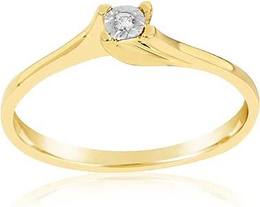 MILLE AMORI ∞ Anillo Mujer Compromiso Oro y Diamantes - Oro Amarillo 9 Kt 375 ∞ Diamantes 0.01 Kt: Amazon.es: Joyería